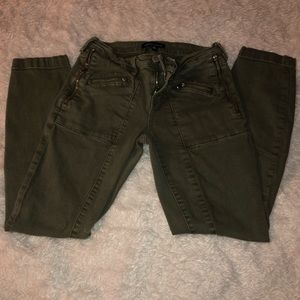 Kendall and Kyle army green cropped jeans